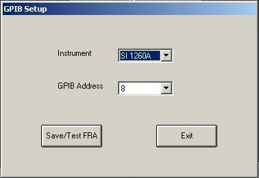 GPIB Set Up Screen
